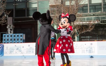 Mickey and Minnie Duet Skating at the Downtown Denver Rink at Skyline Park