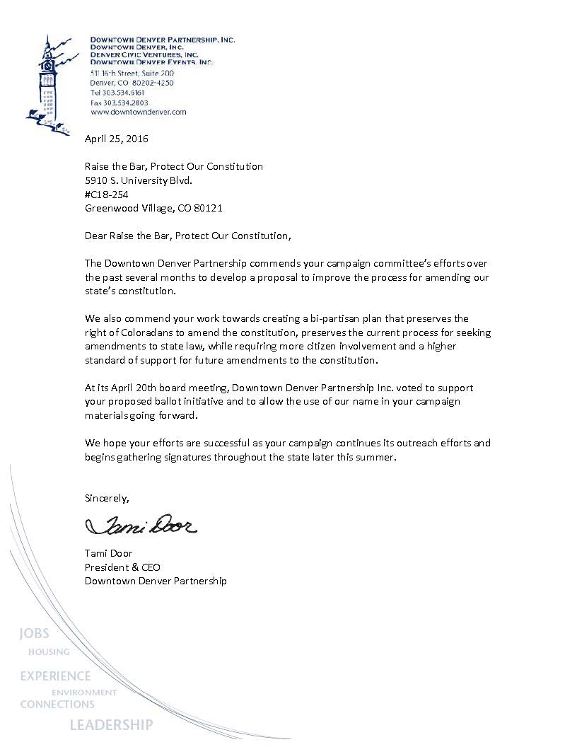Support letter raise the bar initative downtown denver partnership recent news from the downtown denver partnership altavistaventures Gallery