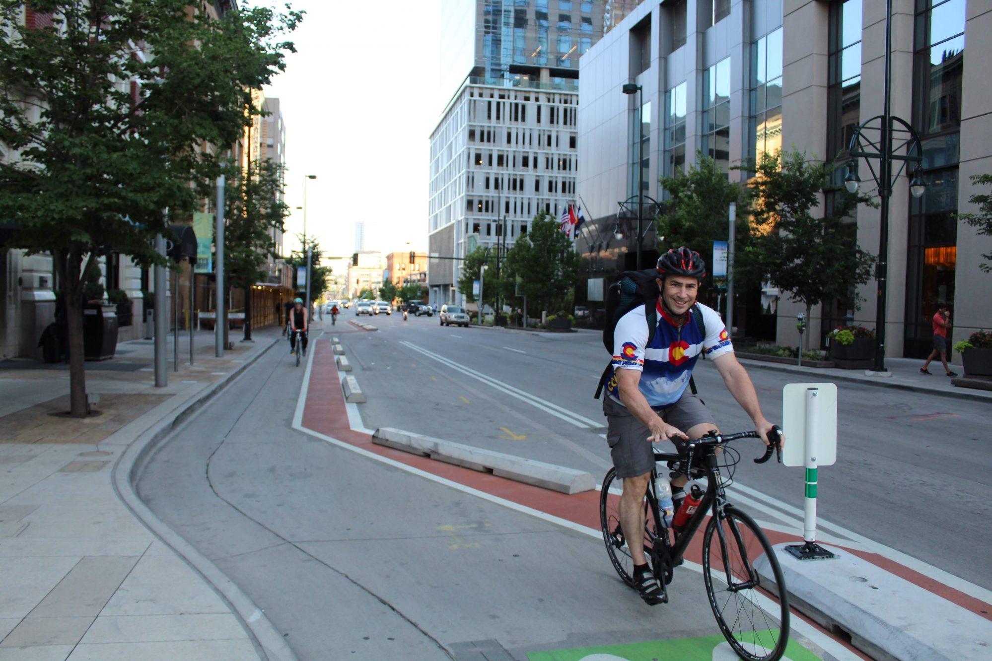 Bike to Work Day Downtown Denver Biking Bicyclist 14th Street Bike Lane