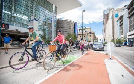Downtown Denver Biking Mobility Bicyclists Bike Lane 14th Street