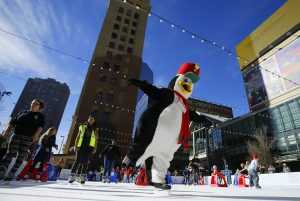 Waddles on the ice in downtown denver