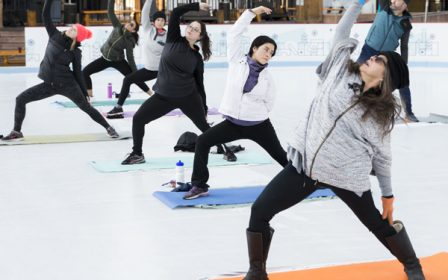Snowga Yoga Downtown Denver Rink Skate